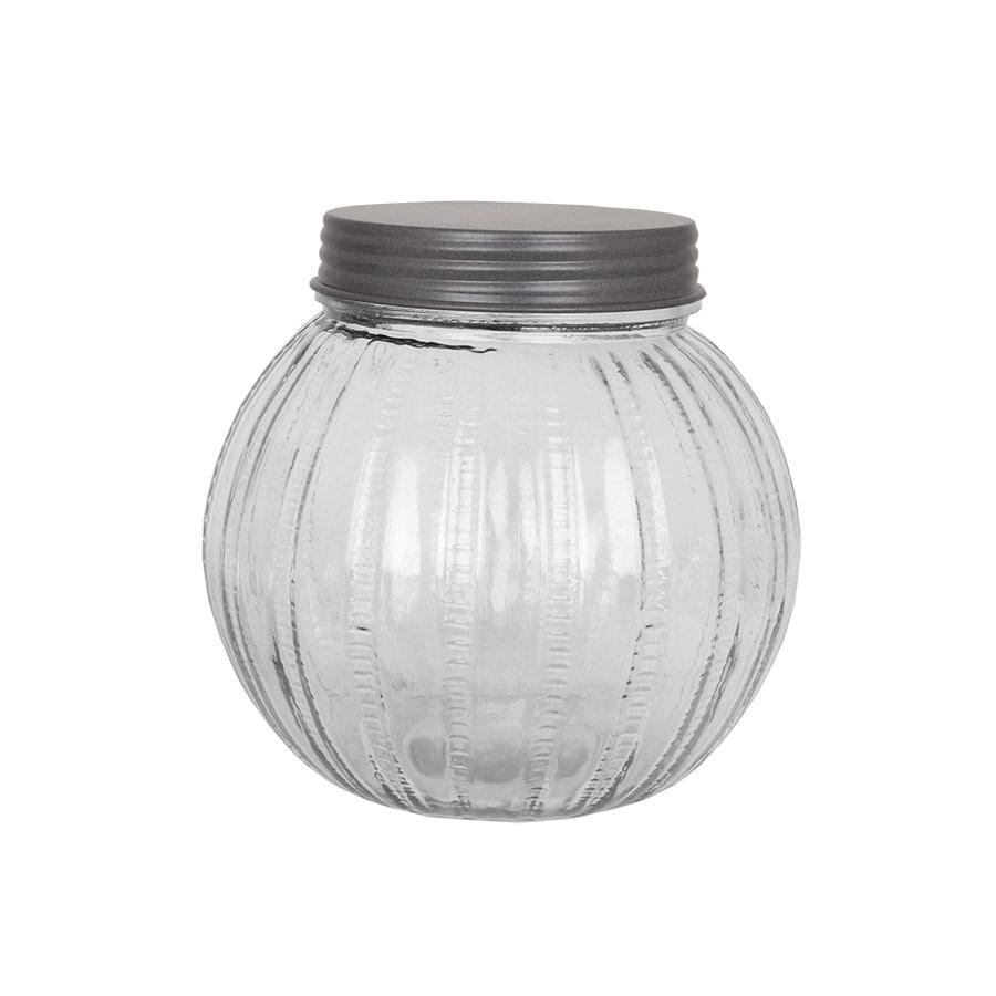 Ribbed Glass Jar w. Lid Large