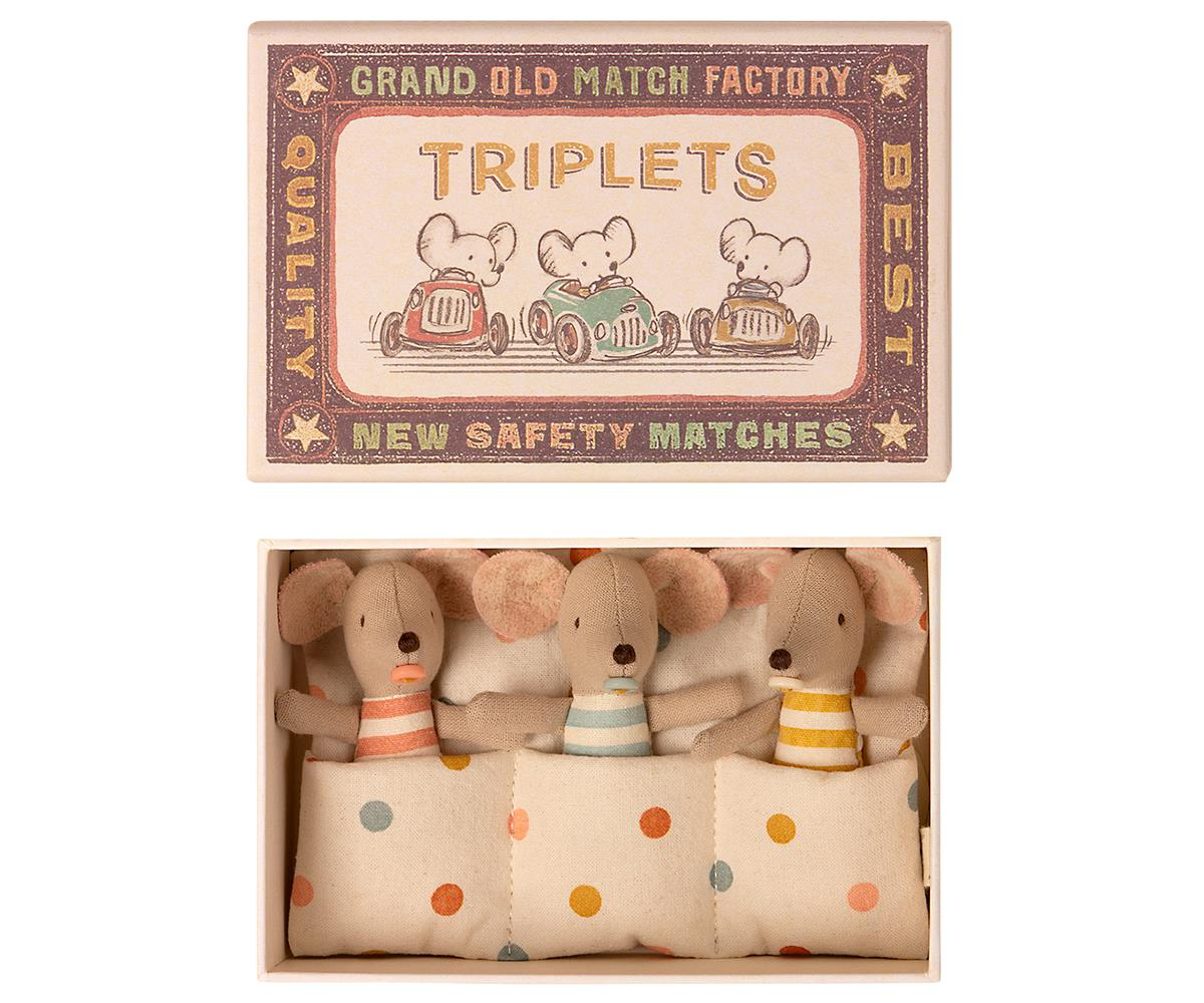 Triplets Baby Mice in Matchbox