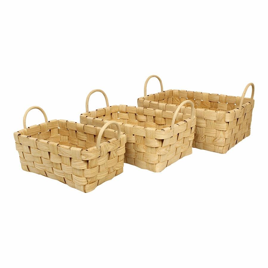 Wooden Basket Rectangular S/3
