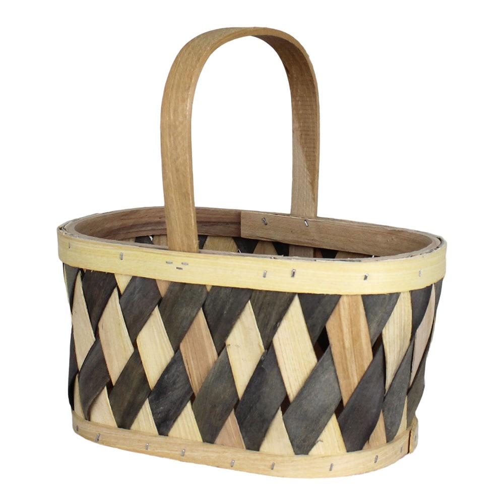 Wood Basket Vera Grey/Nature Small
