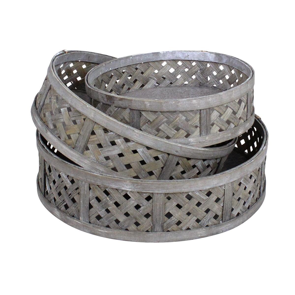 Round Basket Ida S/3 Grey