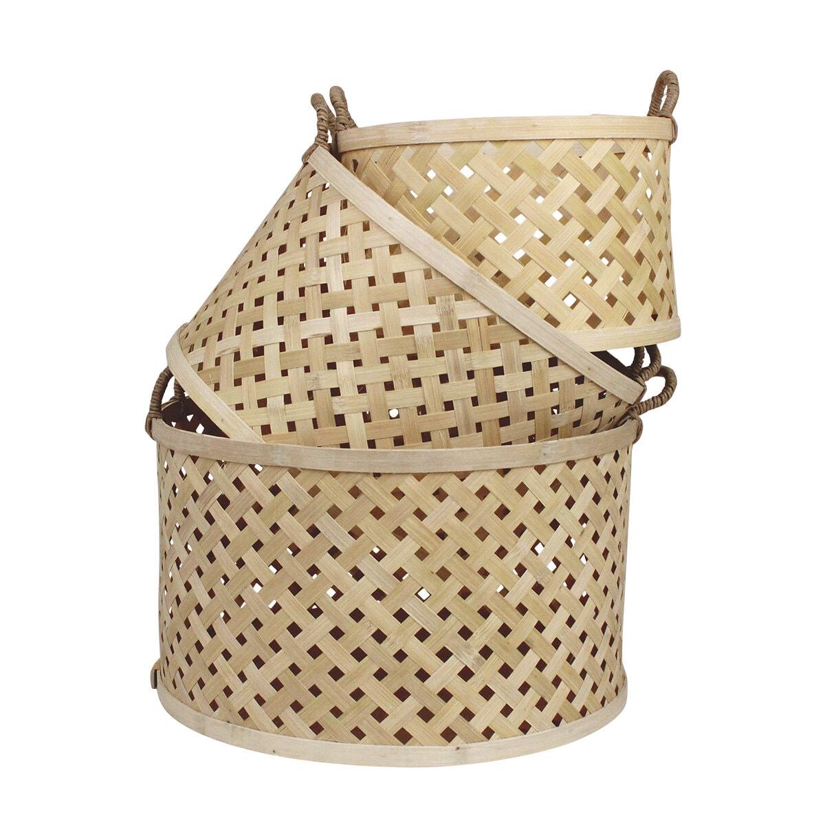 Round Basket w. Handle Ida S/3 Nature