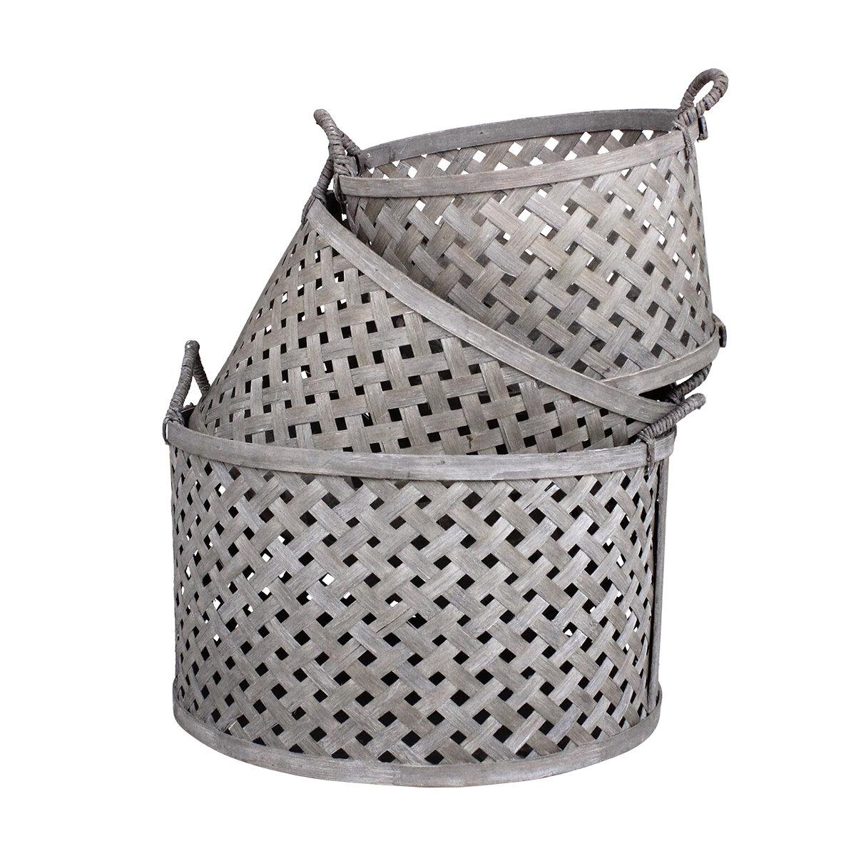 Round Basket w. Handle Ida S/3 Grey