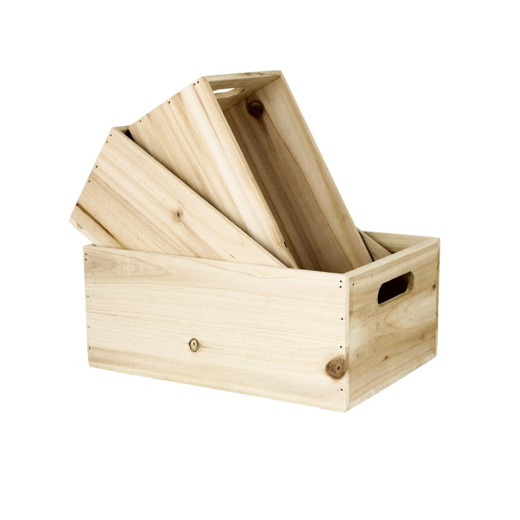 Wooden Box Rectangular S/3
