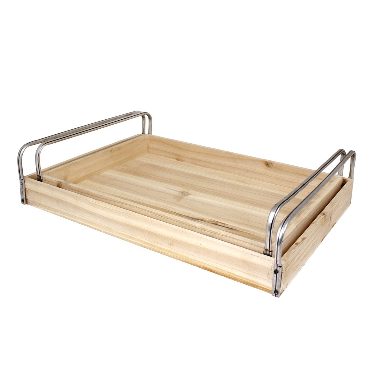 Wooden Tray Arne w. Metal Handle S/2