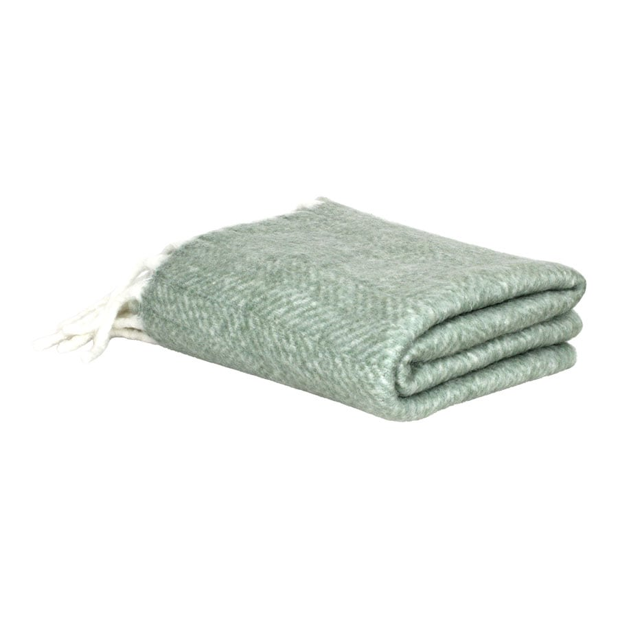 Wool Plaid Green w. Light Fringes