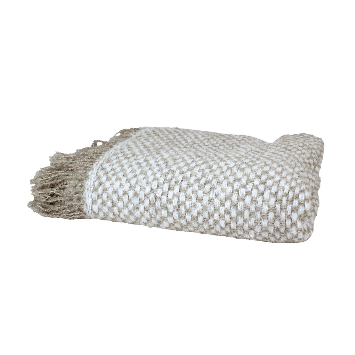 Wool Plaid Emil Beige/White