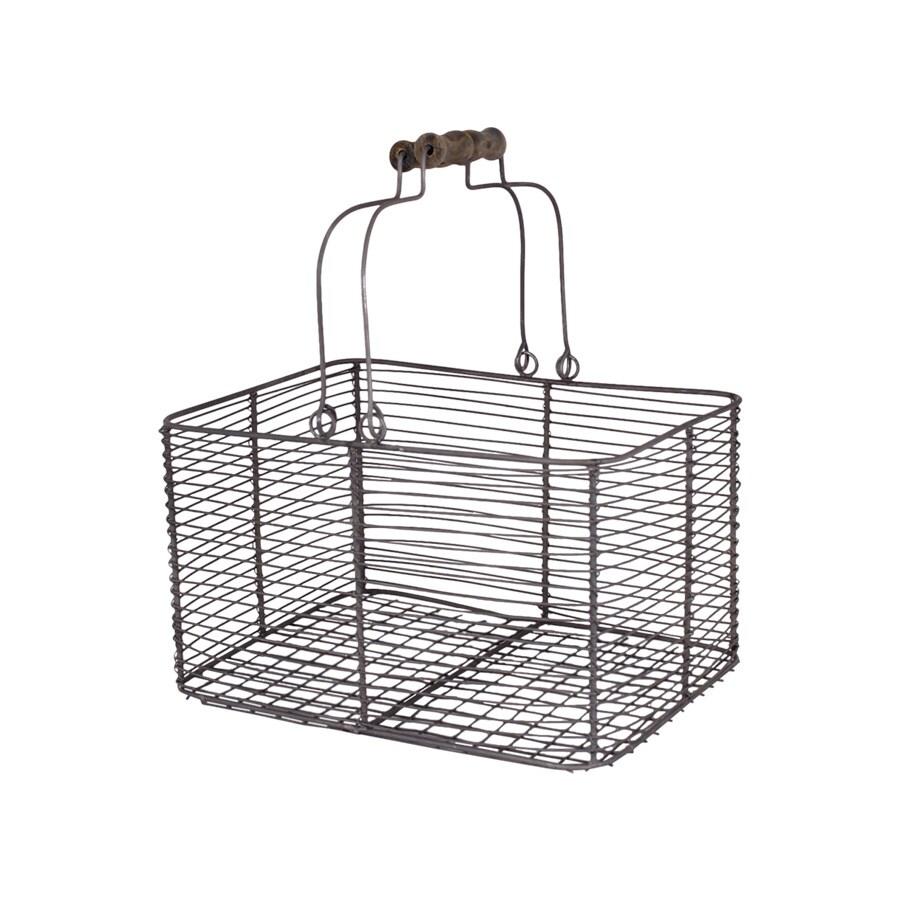 Wire Basket w. Handles Rectangular Zinc Small