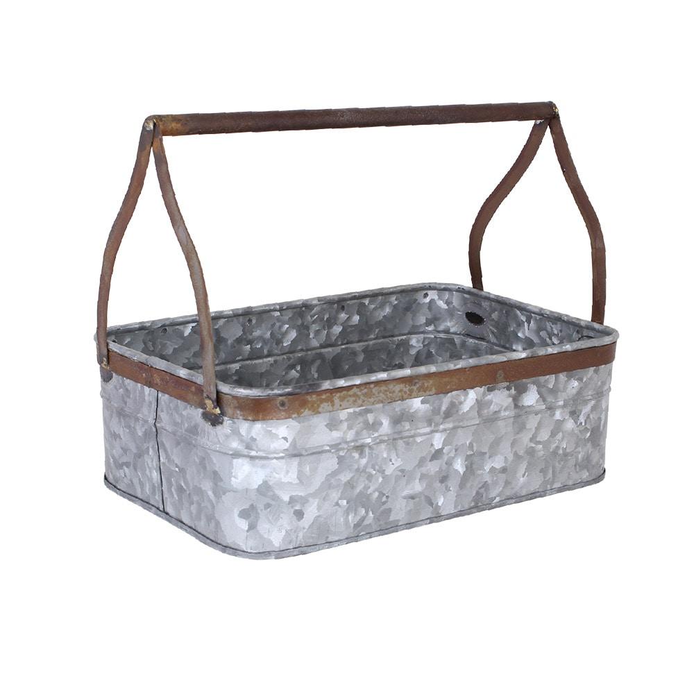 Tray w. Handle Zinc/Rust Large