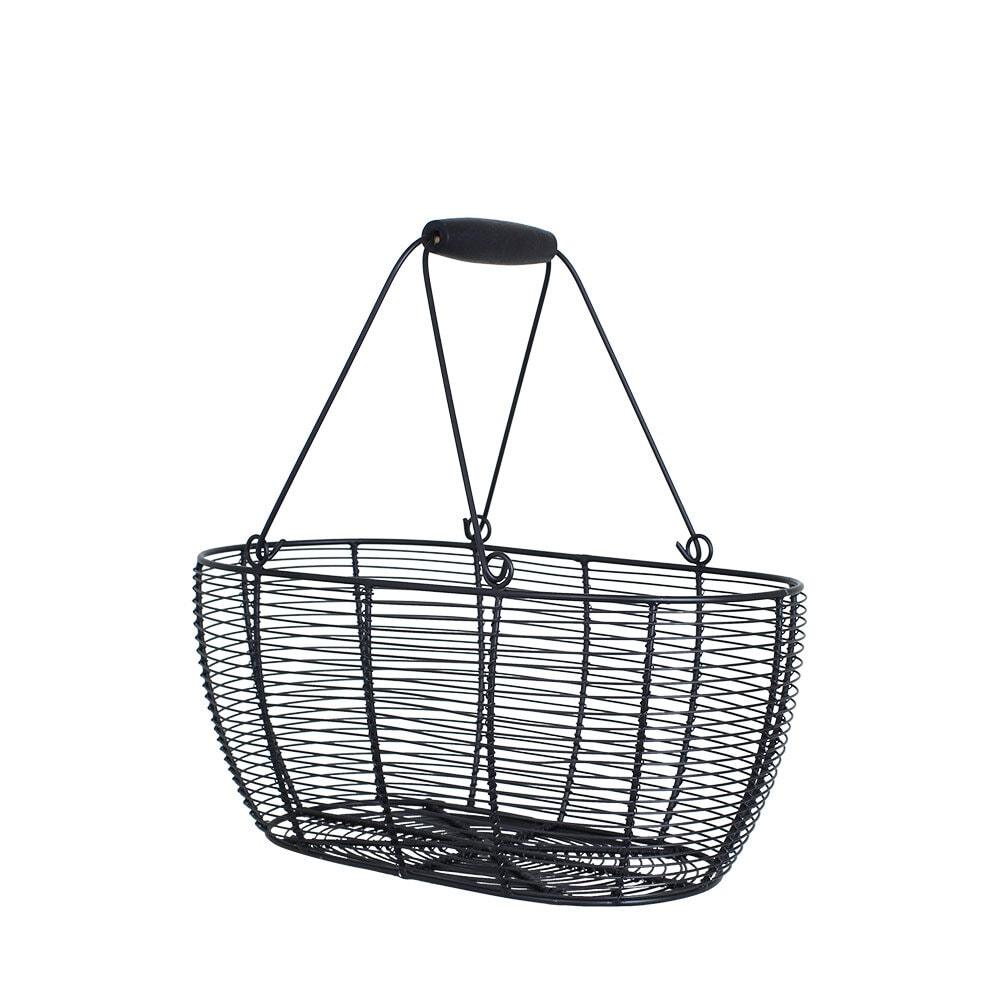 Wire Basket Oval Black Medium