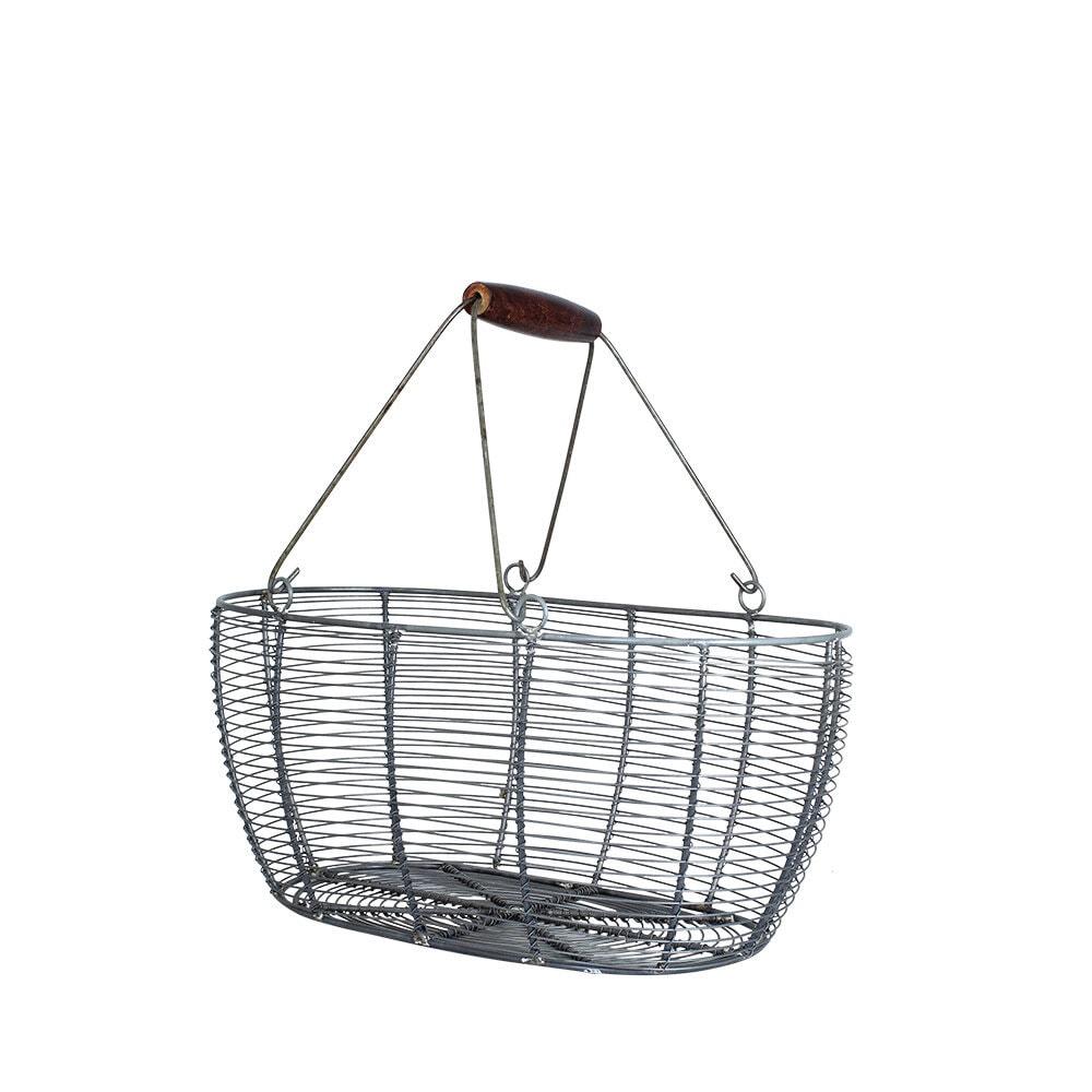 Wire Basket Oval Zinc Medium