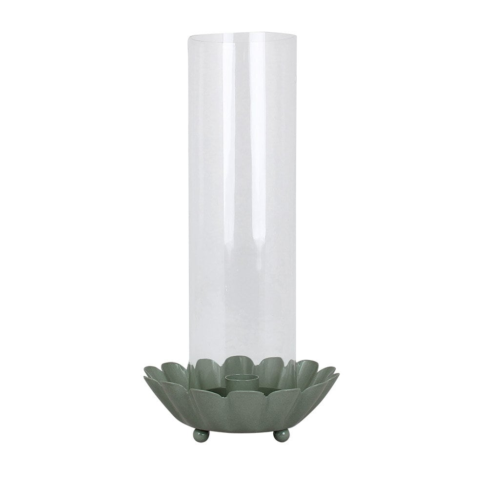Candle Holder w. Glass Pipe Ingrid Green