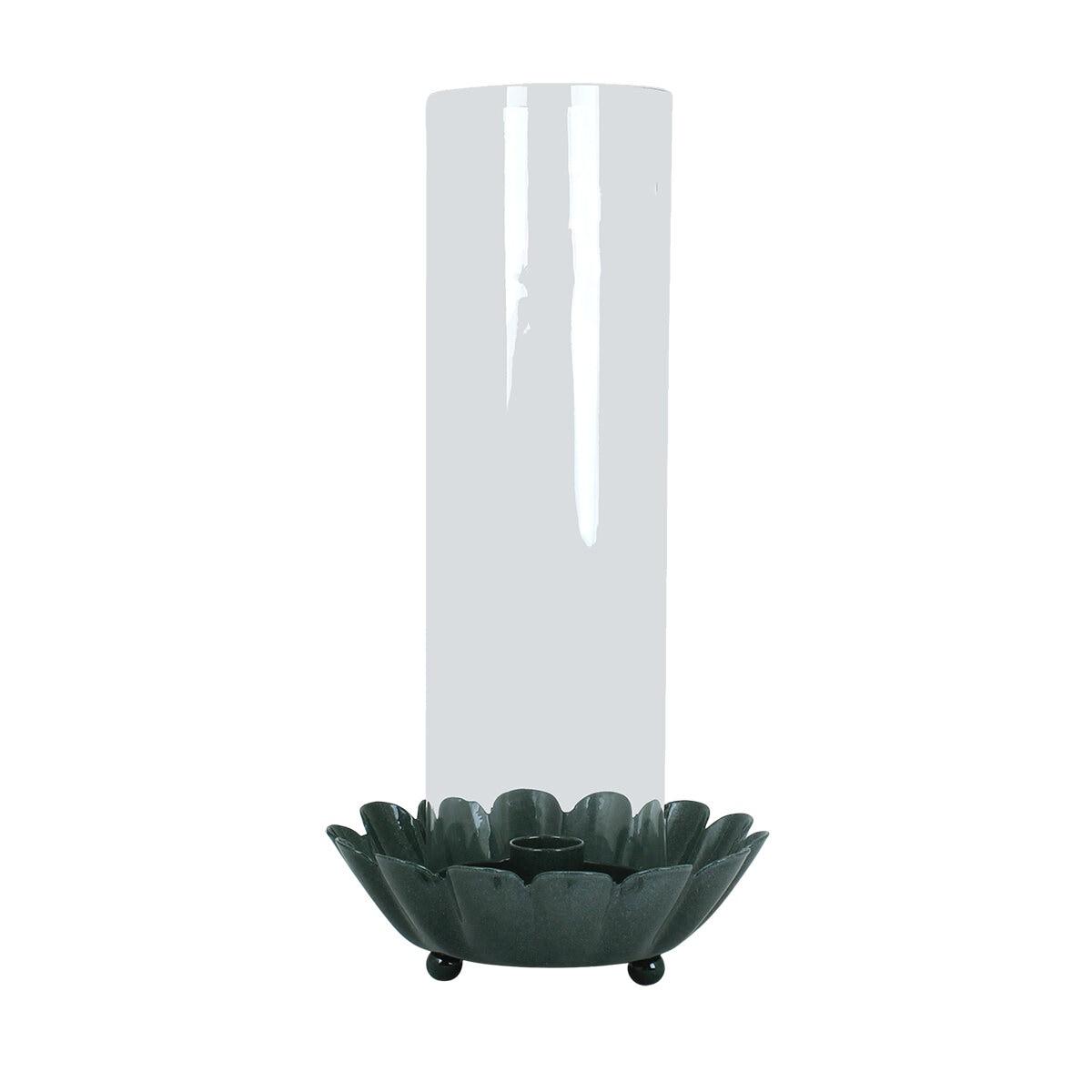 Candle Holder w. Glass Pipe Ingrid Dark Green
