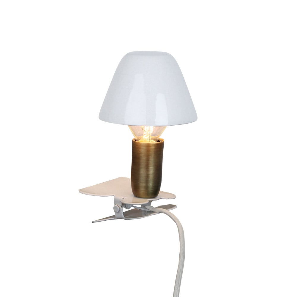Lamp Mini On Clip Antique White