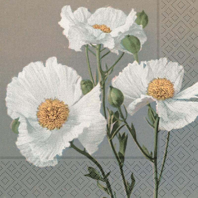 Napkin White Poppies